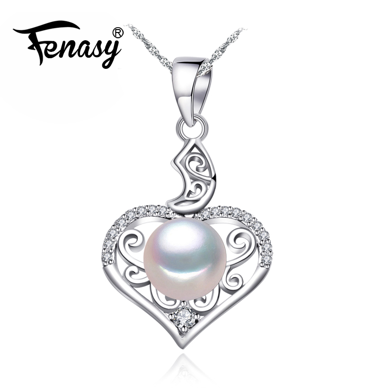 FENASY Heart Pendant 925 sterling silver love necklace pearl jewelry chain necklace Bohemian Pearl pendant for women FENASY Heart Pendant 925 sterling silver love necklace pearl jewelry chain necklace Bohemian Pearl pendant for women
