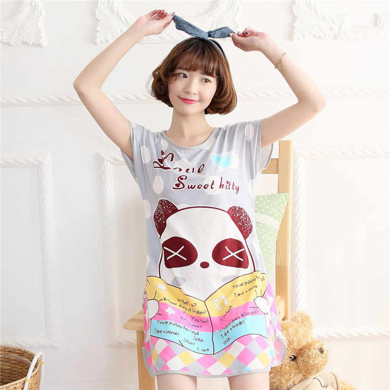 ad11685ad6 ... BabYoung Pyjamas Girls Loose Cartoon Panda Mouse Sleep Dress Sleepwear  Nightgown Home Wear Female Women pijamas ...