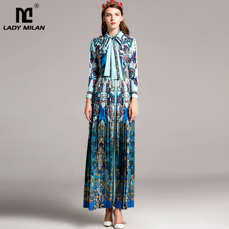 High Quality Womens Turn Down Collar Long Sleeves Bow Detailing Printed Prom Pleated Fashion Maxi Floor Length Runway Dresses