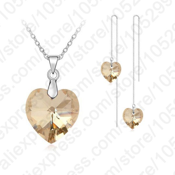 Brand Lovely Crystal Ocean Heart Real 925 Sterling Silver Pendant Necklace Earring Jewelry Gift Set With Box Chain Thread