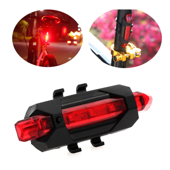 5LED Bicycle Rear Tail Lights Flash USB Rechargeable Bike Safety Lamp Waterproof, Black+Red churrasqueira para fogão