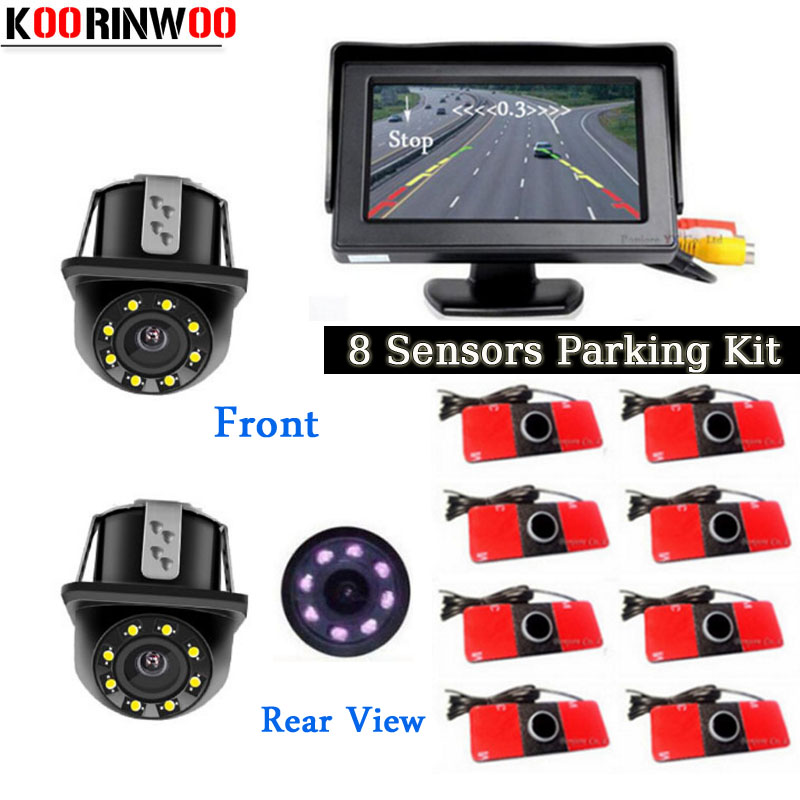 цена на Koorinwoo Visual Car Video Parking Sensor 8 Radars Probes Parktronic Car rear view camera Front camera Black/White/Grey/Silver