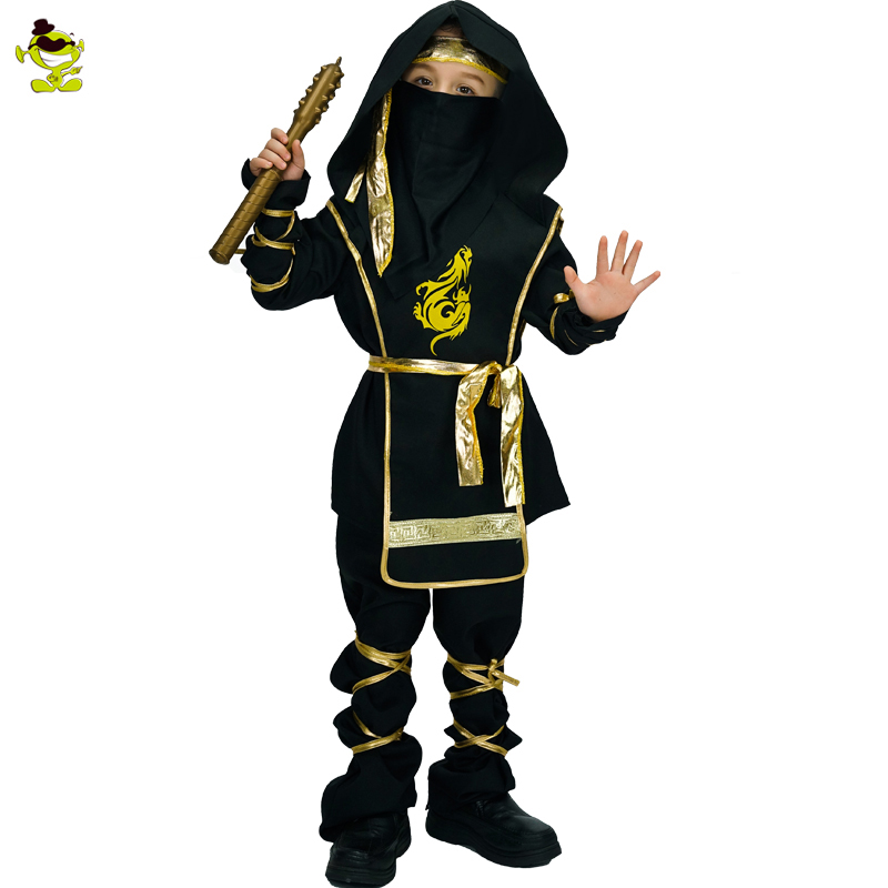 Super Handsome Black Ninja Costume with Golden Dragon Print Halloween Carnival Party Deluxe Warrior Cosplay clothing for Kid boy