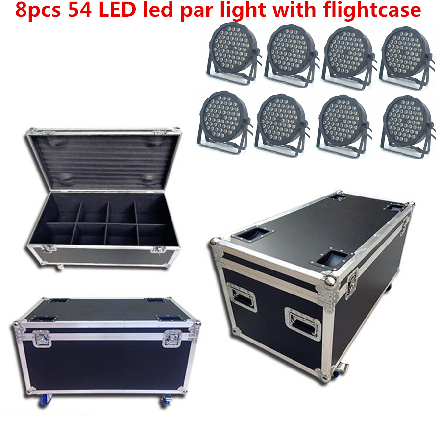 8pcs 54x3W LED Led Par Light With Flightcase  DJ Par LED RGBW UV Dj Light Wash Disco Light DMX Controller Effect  54x4W RGB 3in1