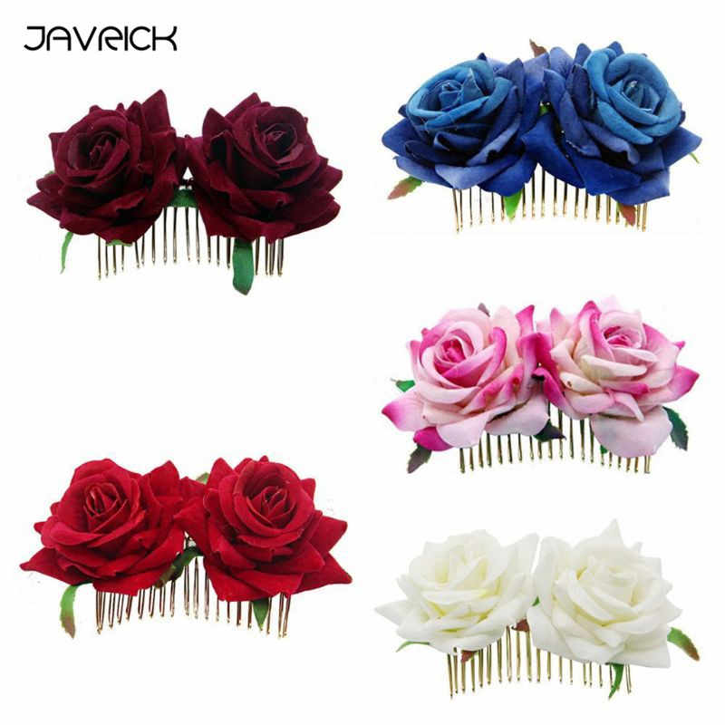 JAVRICK Women Lady Vintage Simulation Velvet Rose Flower Hair Clip Wedding Bridal Flamenco Dancer Metal Hair Comb Party Hairpins
