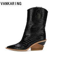 brand fashion embossed microfiber leather women's ankle boots pointed toe western cowboy boots women wedges riding runway boots