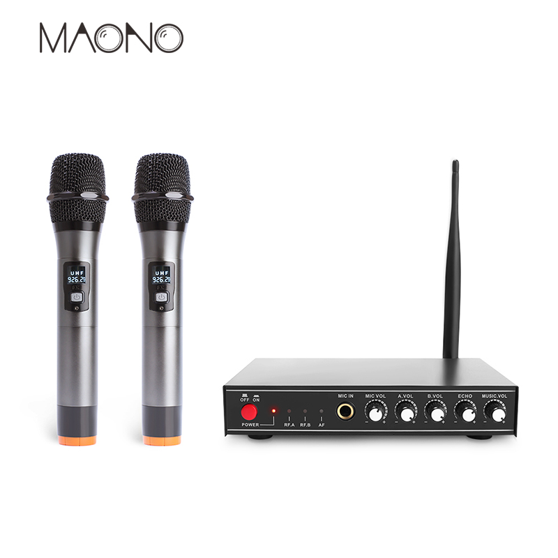 Maono Wireless Microphone System Professional l UHF Metal Vocal Microphone Kits Dual Channel Handheld Microphones Karaoke Mixer professional vocal set wireless microphone system for crystal clear sound with range of 80 meters l 706