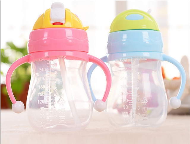 280ml Baby Straw Cups Kids Water Bottle Handle Sippy Training Cup Children Learn Drinking Straw Bottle copo com canudo