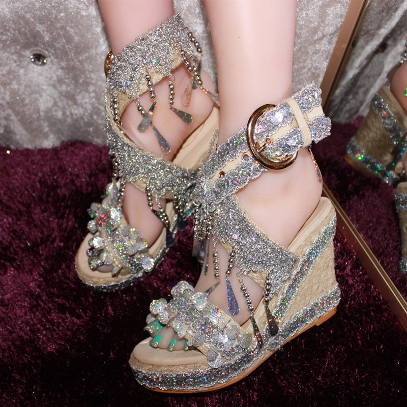 Women Summer Sandals Cane Crystal PeepToe Buckle Strap Wedge High Heels Sandals Simple Concise Casual Shoes Woman Pumps J050 xiaying smile summer woman sandals fashion women pumps square cover heel buckle strap bling casual concise student women shoes