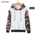 EIFFTER 2016 Autumn Winter Women Casual Thick Warm Floral Printed Hoodies Sweatshirts Long Sleeve Hooded Long Coat Jackets