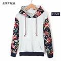 EIFFTER 2016 Autumn Winter Women Casual Thick Warm Floral Printed Hoodies Sweatshirts Long Sleeve Hooded Long Coat Jackets