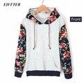 EIFFTER 2016 Mulheres Outono Inverno Casual Grosso Quente Floral Impresso Hoodies Camisolas de Manga Longa Com Capuz Casacos Casaco Longo