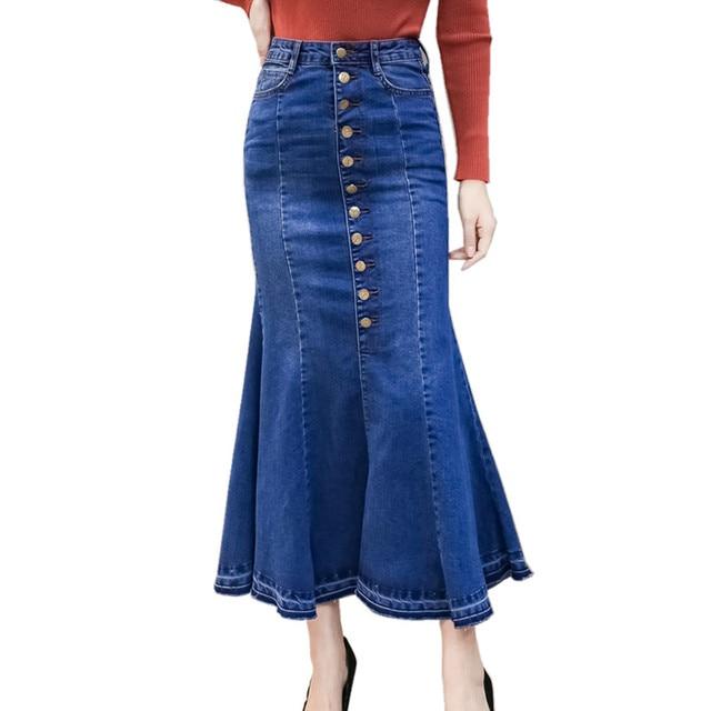 702daa794 High Waist Women Denim Skirts 2018 Autumn Winter European American Style  Single-breasted Design Ruffle Jeans Mermaid Skirts Long