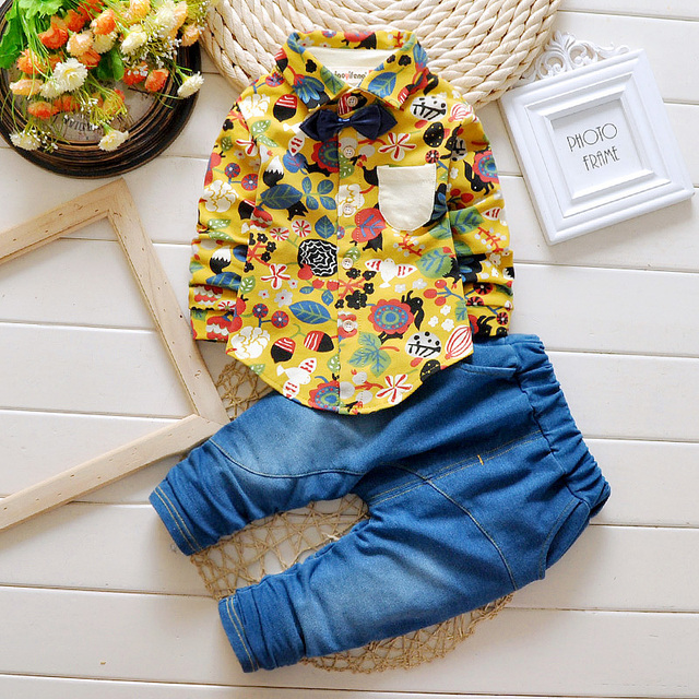 Children's Clothes Foreign Trade Fashion Print Europe And US Boys Cowboy Two-piece Suit Trousers Baby Boy Clothing For 1-4Years