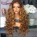 8А Glueless полные парики шнурка бразильских объемная волна T #4/#27 два тон ombre человеческих волос парики 180% передние парики шнурка отбеленные узлы