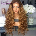 8A Glueless full lace wigs brazilian body wave T#4/#27 two tone ombre human hair wigs 180% front lace wigs bleached knots