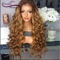 8A onda do corpo Glueless full lace wigs brasileiro T #4/#27 dois tom ombre perucas de cabelo humano de 180% frente perucas cheias do laço branqueada nós