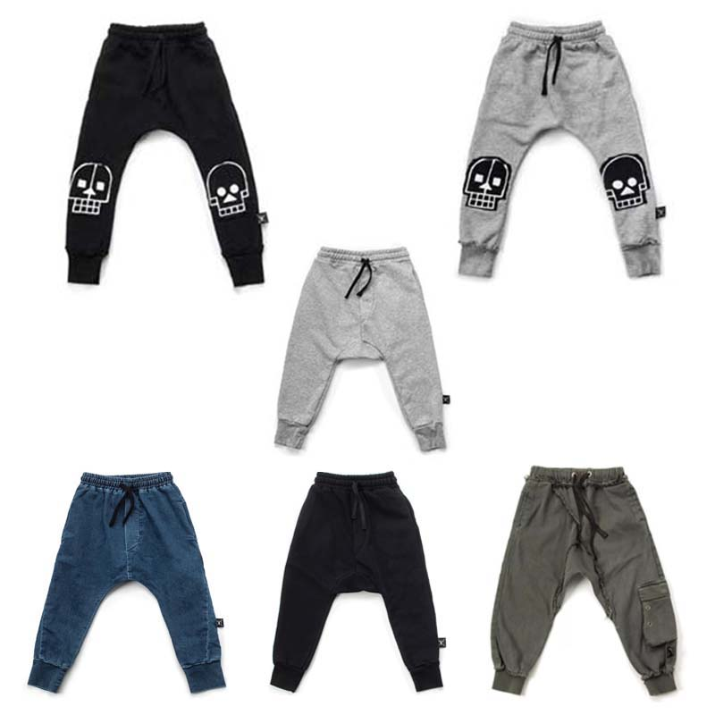 BBK Nununu 2018 Autumn Boys pants Cotton Pants Star pattern Leggings Children black&jeans Baby Girls Trousers Kids toddler C* children s clothes girls autumn cotton pants kids casual jeans leggings blue color female child star hole trousers pencil pants
