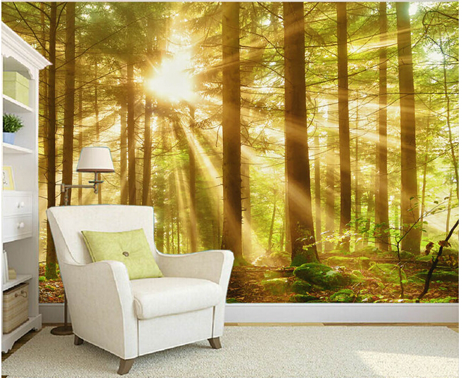 Custom nature wall murals woods morning scenery paintings for the
