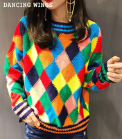 european and american fashion women pullover sweater rainbow color diamond knit sweater long sleeves loose pullover female