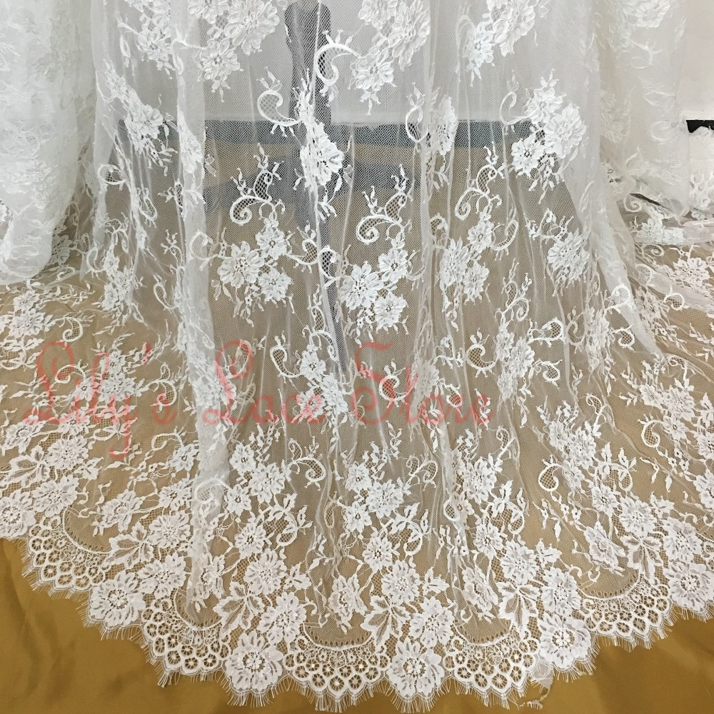 Elegant eyelash chantilly lace fabric with bone cording handmade vintage wedding lace high end french cord