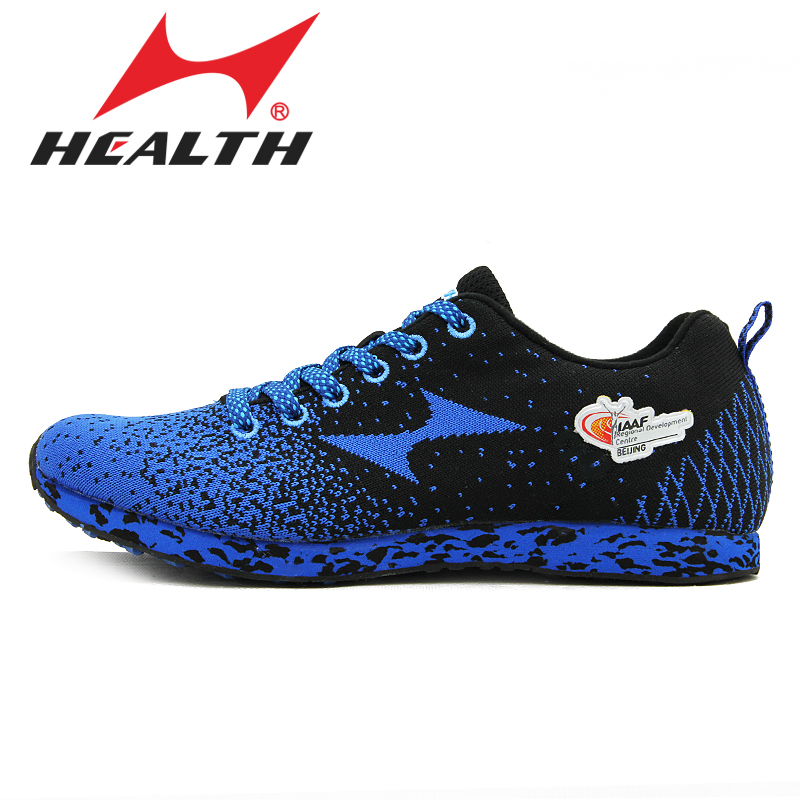 ФОТО HEALTH running shoes fly line knitting running shoes anti-slip resistant lightweight breathable marathon sports shoes