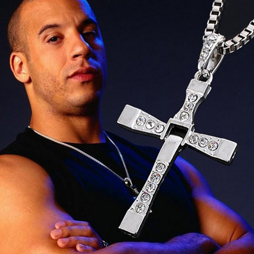 Fast and Furious 7 Movie Cross Tourette Necklace Dominic Toretto Cross Gold & Silver Plated Pendant Stainless Necklace ACS155