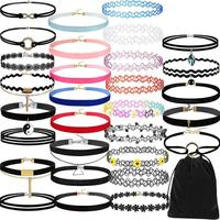 30 Pieces Choker Necklace Set Stretch Velvet Classic Gothic Tattoo Lace Choker Delicate Oct 20 Drop