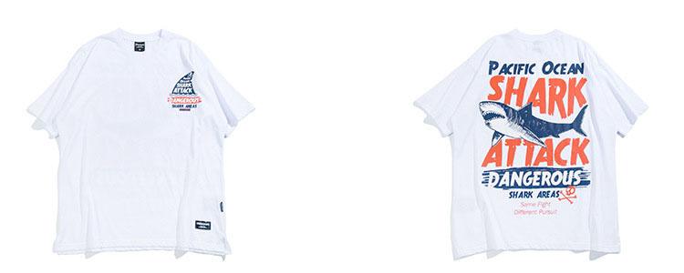 Aolamegs T-shirt Men Dangerous Big Shark Printed Short Sleeve Tee shirt Fashion Street Hip Hop Creative Tops Couples T shirts (11)