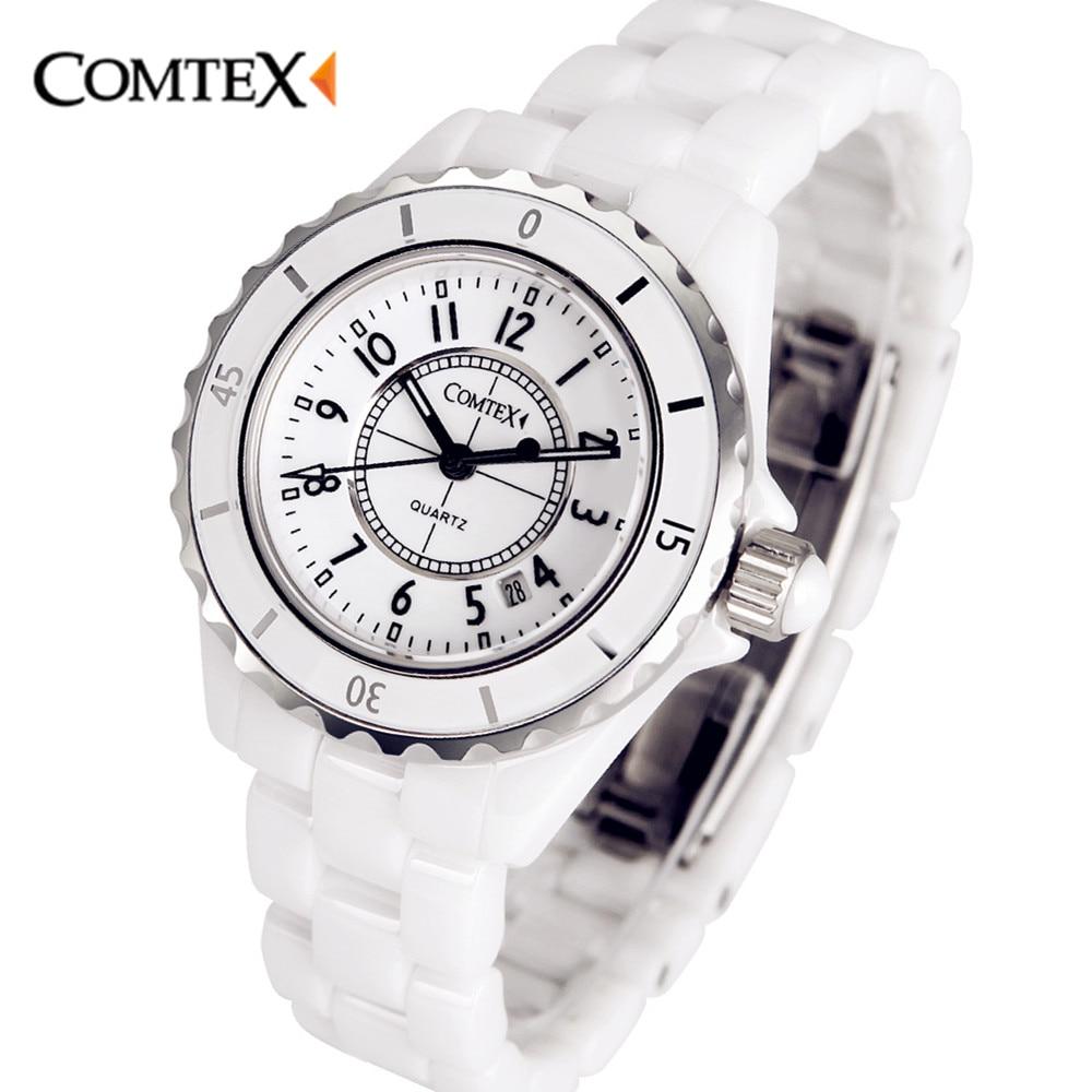 COMTEX Swiss Fashion White ceramic Watch women Quartz dress women watch pearl Ceramic watches lady gift