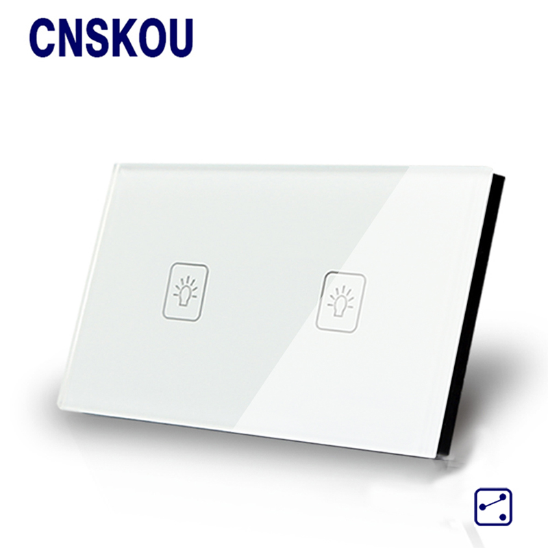 Cnskou US/AU Standard Touch Switch 2Gang2Way Screen Wall Light Switches White Crystal Glass Panel Smart Home Automation