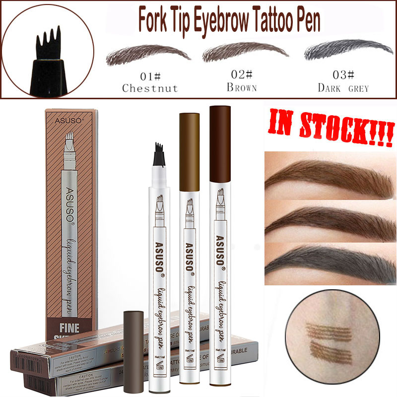 Hot Sale Microblading Eyebrow Tattoo Pen Waterproof Eye Makeup 3 Colors Easy Use Eyebrow Pen Deep