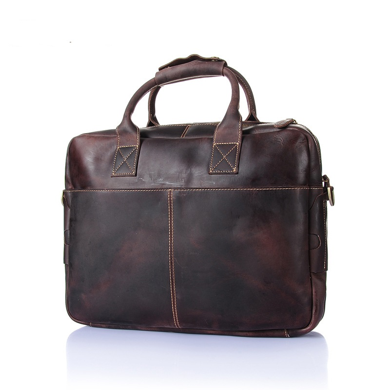 2150 Europe and the United States First layer cowhide handbag men's crazy horse single shoulder bag leather computer bag europe and the united states new handsome british wind pointed thick boots snake belt buckle especially exquisite single boot