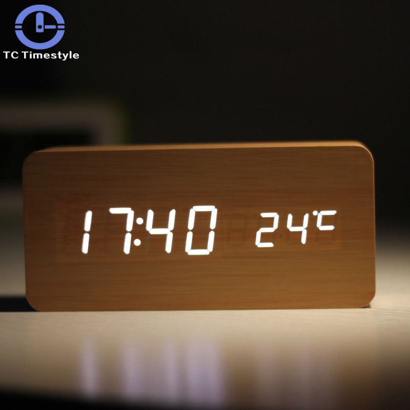 Wooden Multifunction Alarm Clock Simple Electronic Creative Digital Head Student Night-light Mute LED Living Room Bedroom
