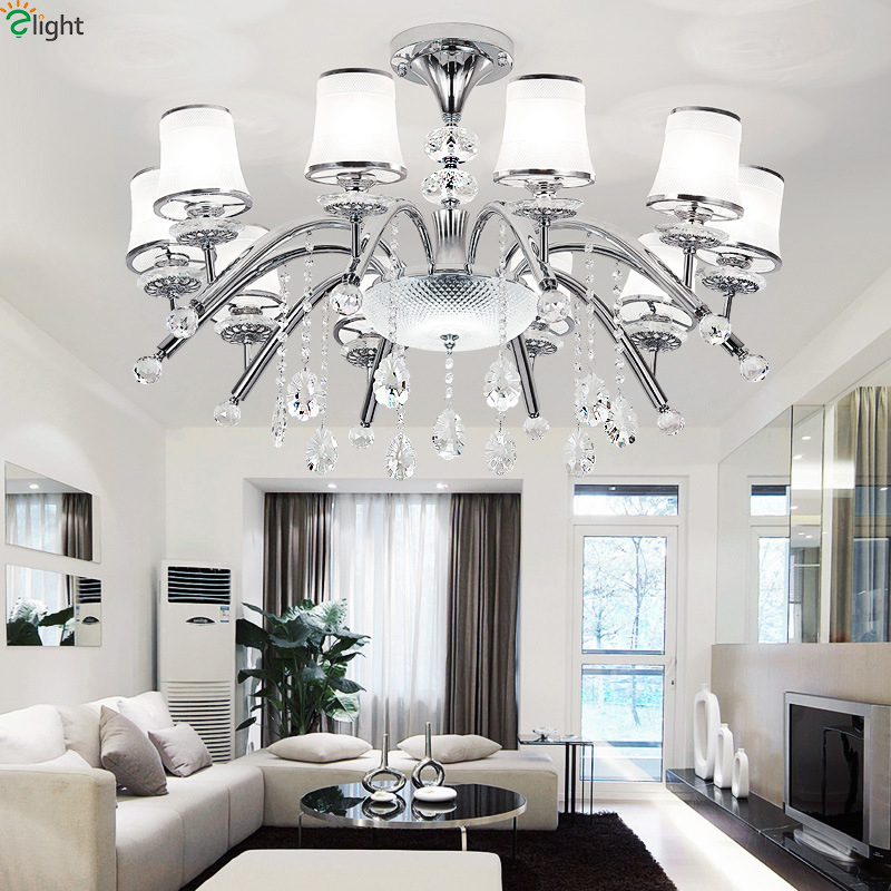 Modern Lustre Crystal Led Chandelier Light Chrome Metal Living Room Led Chandeliers Lighting Fixtures Bedroom Led Hanging Lights modern hanging chandelier lighting living room dinning crystal chandelier led lights chrome chandeliers modern crystal lighting