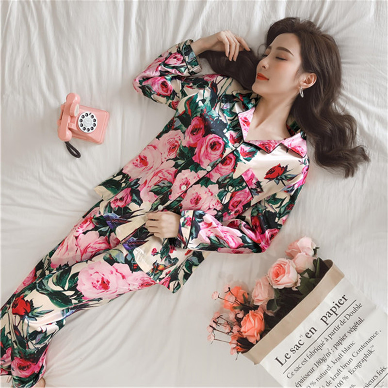 JULY'S SONG Women   Pajamas   Faux Silk Sleepwear Satin   Pajamas     Set   Flower Print Long Sleeves 2 Piece Autumn Winter Homewear