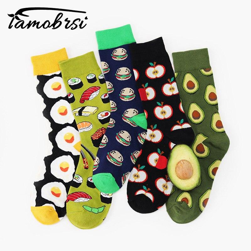 Авокадо омлет бургер суши яблоко завод фрукты еда носки для девочек короткие носки хлопковые с забавным для женщин зимние мужчин унисекс ...