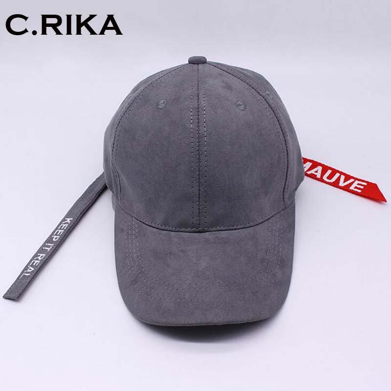 Peaceminusone Long Strap Belt Snapback hats for men women suede hip hop dad  caps sun Leisure visor curled peak baseball cap 80a228e1c4c