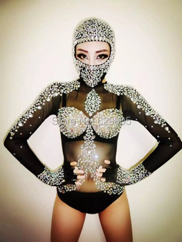 Sexy Long Sleeves Leotard Costumes Rhinestone Crystals Outfit Black Singer Bodysuit Dj  Gauze Sparkling Diamond Party Dresses