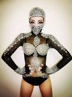 Sexy Long Sleeves Leotard Costumes Rhinestone Crystals Outfit Black Singer Bodysuit Dj Gauze Sparkling Diamond Party Dresses
