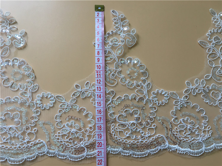 9Yards Corded Embroidery Bridal Lace Trim Wedding Dresses DIY Sequins Embroidered Lace Accessories For Bridal Gown Veil in Lace from Home Garden