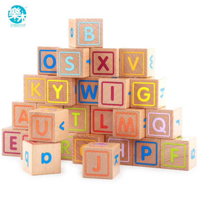 Logwood Baby Wooden Toys Wooden block 26pcs  Learning Educational toys for children Animal words letter learn gifts for Baby baby wooden toys multifunctional learning cube puzzle round beads abacus frame baby educational toys for children