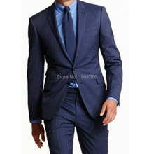 Two Piece Business Men Suits for Groom Tuxedos Wedding 2018 Notched Lapel Trim Fit Blazer Latest Style Jacket Pants