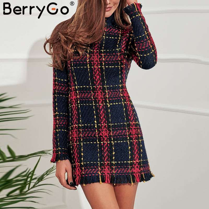 BerryGo Elegant plaid tweed women dress winter Office lady long sleeve warm christmas dress Vintage sexy autumn dresses festa Платье