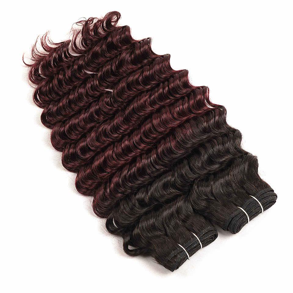 Pinshair Deep Wave Malaysian Hair 3 Bundles With Closure Ombre 1B Burgundy Dark Human Hair Weave Bundles With Closure Non Remy