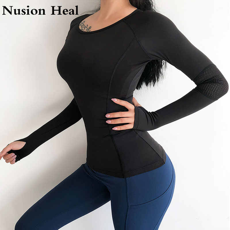 Women Mesh Hollow Out Yoga Top Full Sleeve Sport T Shirt Quick Dry Fitness Clothing Sports Gym Running Jogging Shirts Activewear