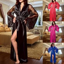 Women Long Bath robe Thinner Fabric Nightgown Lace Lingerie Nightdress Sleepwear Sexy Robe Femme Nightgown Bridesmaid Robes women lingerie sleepwear femme sexy lace silk underwear lingerie sleepwear nightdress robe dress