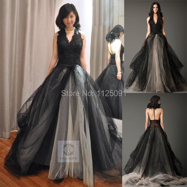 2019 Fast Shipping Halter T Back Vera Black Wedding Dress