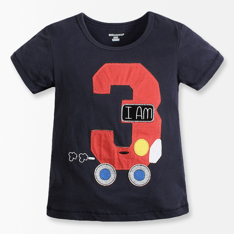 Number Series No 3 Print Baby Boys T Shirt Cartoon Car