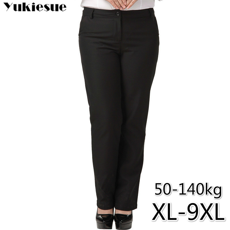 OL Office Women's Pants For Women Pantalon Femme Streetwear With High Waist Formal  Suit Pants Plus Size 9XL Female Trousers